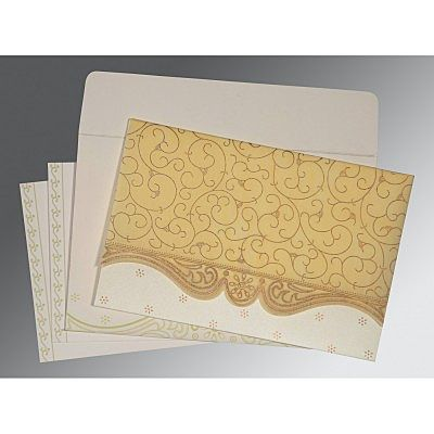 Ivory Wooly Embossed Wedding Invitation : CI-8221K - IndianWeddingCards