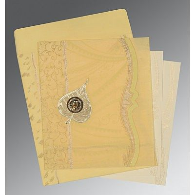Ivory Wooly Embossed Wedding Card : CS-8210G - IndianWeddingCards