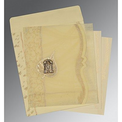 Ivory Wooly Embossed Wedding Card : CSO-8210C - IndianWeddingCards