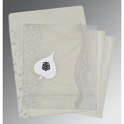 Ivory Wooly Embossed Wedding Card : CW-8210J - IndianWeddingCards
