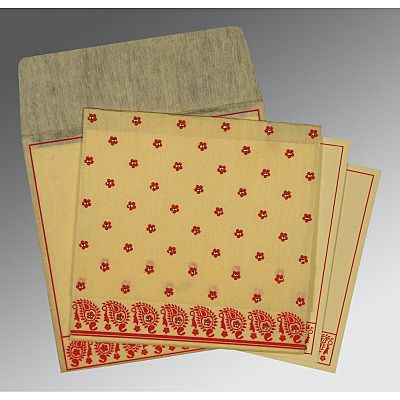 Ivory Wooly Floral Themed - Screen Printed Wedding Card : CI-8218B - IndianWeddingCards
