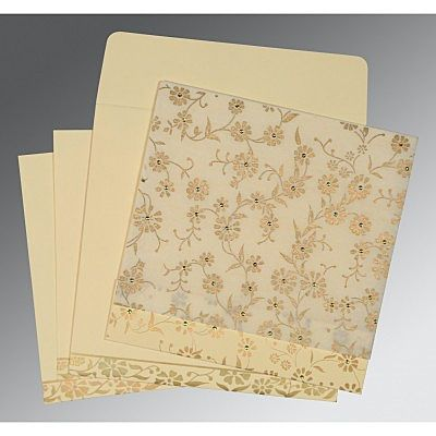 Ivory Wooly Floral Themed - Screen Printed Wedding Card : CRU-8222I - IndianWeddingCards