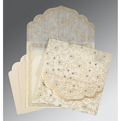 Ivory Wooly Floral Themed - Screen Printed Wedding Invitation : CW-8211G - IndianWeddingCards