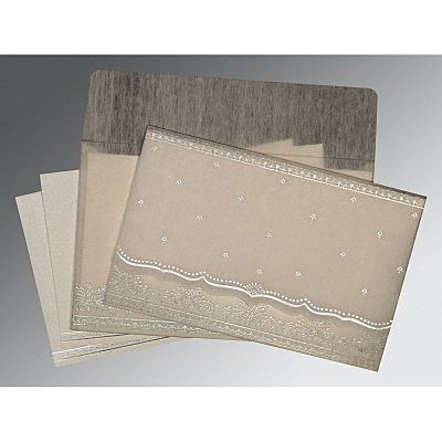 Ivory Wooly Foil Stamped Wedding Invitation : CW-8241A - IndianWeddingCards