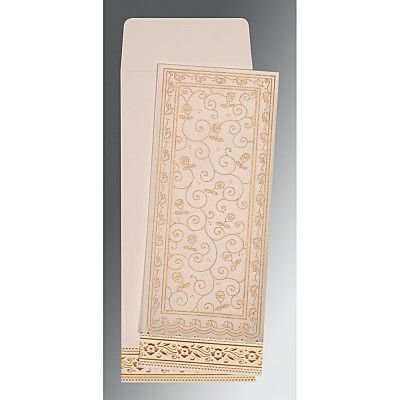 Ivory Wooly Screen Printed Wedding Invitation : CG-8220D - IndianWeddingCards