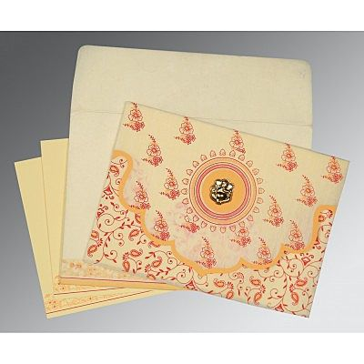 Ivory Wooly Screen Printed Wedding Invitation : CIN-8207A - IndianWeddingCards