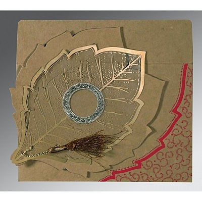 Khaki Handmade Cotton Floral Themed - Foil Stamped Wedding Card : CRU-8219Q - IndianWeddingCards
