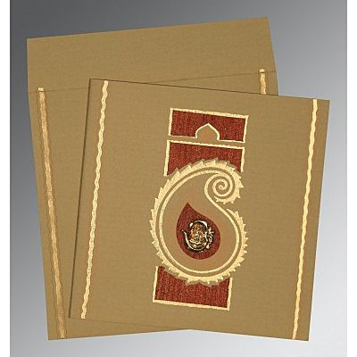 Khaki Matte Embossed Wedding Invitation : CIN-1187