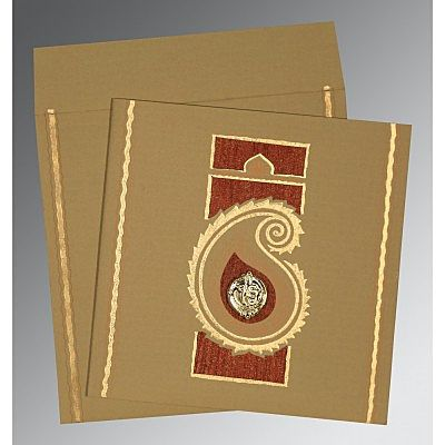 Khaki Matte Embossed Wedding Invitation : CRU-1187 - IndianWeddingCards