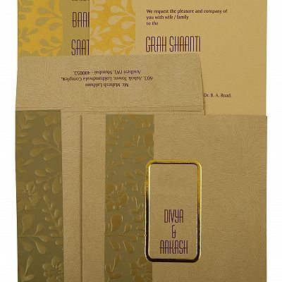 Khaki Matte Floral Themed - Foil Stamped Wedding Invitation : CW-1897 - IndianWeddingCards