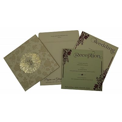 Khaki Matte Floral Themed - Foil Stamped Wedding Invitation : CIN-1805 - IndianWeddingCards