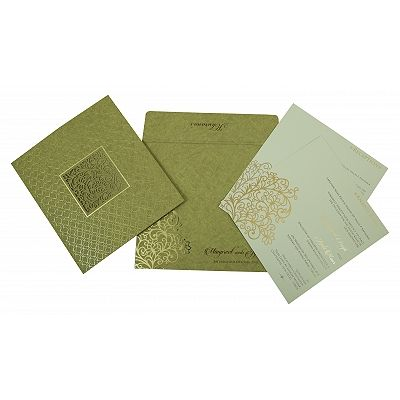 Khaki Matte Foil Stamped Wedding Invitation : CW-1810 - IndianWeddingCards