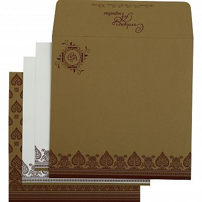 Khaki Matte Screen Printed Wedding Invitation : CI-809C - IndianWeddingCards
