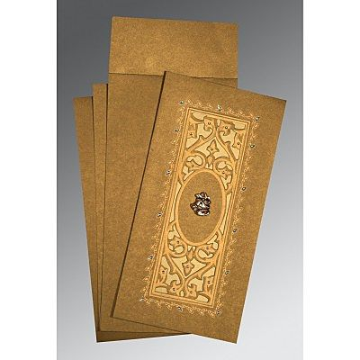 Khaki Shimmery Embossed Wedding Card : CC-1440