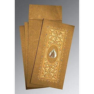 Khaki Shimmery Embossed Wedding Card : CW-1440 - IndianWeddingCards