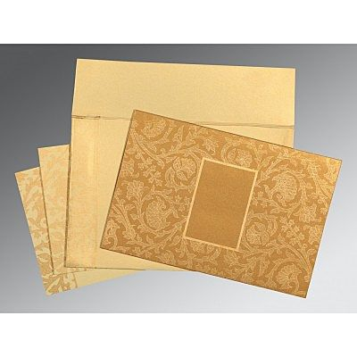 Khaki Shimmery Pocket Themed - Embossed Wedding Invitation : CD-1434 - IndianWeddingCards