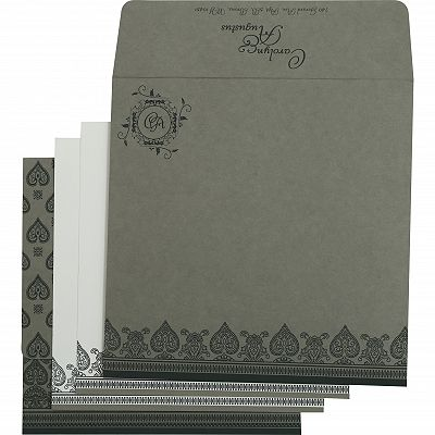 Light Grey Matte Screen Printed Wedding Invitation : CI-809A - IndianWeddingCards