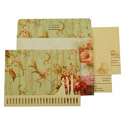 Off White Matte Floral Themed - Offset Printed Wedding Invitation : CS-1932 - IndianWeddingCards