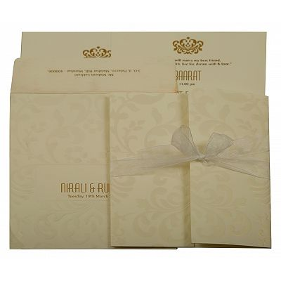 Off White Matte Paisley Themed - Embossed Wedding Invitation : CG-1913 - IndianWeddingCards