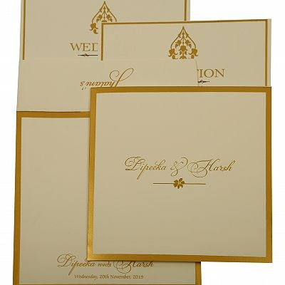 Off White Matte Screen Printed Wedding Invitation : CI-1931 - IndianWeddingCards