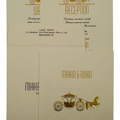 Off White Matte Screen Printed Wedding Invitation : CIN-1896 - IndianWeddingCards