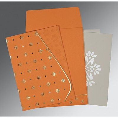 Orange Matte Floral Themed - Foil Stamped Wedding Invitation : CI-8237K - IndianWeddingCards