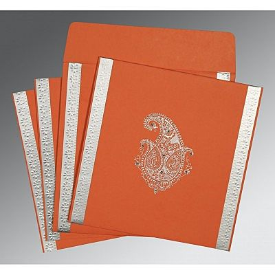 Orange Matte Paisley Themed - Embossed Wedding Invitation : CIN-8231M - IndianWeddingCards