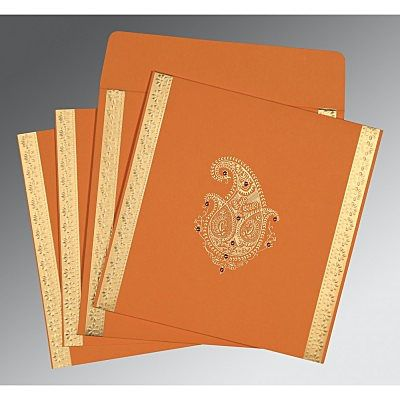 Orange Matte Paisley Themed - Embossed Wedding Invitation : CS-8231N - IndianWeddingCards