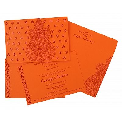 Orange Paisley Themed - Screen Printed Wedding Invitation : CS-801D - IndianWeddingCards