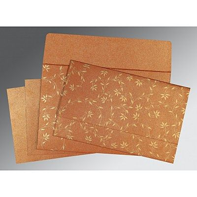Orange Shimmery Floral Themed - Screen Printed Wedding Invitation : CD-8226E - IndianWeddingCards
