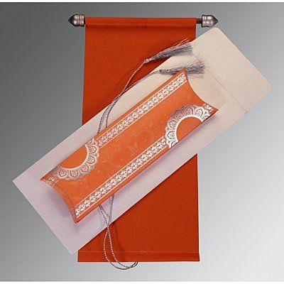 Orange Velvet Wedding Card : CSC-5010J - IndianWeddingCards