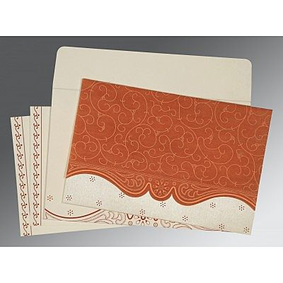 Orange Wooly Embossed Wedding Invitation : CC-8221O - IndianWeddingCards