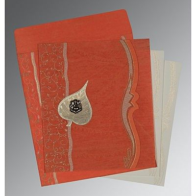 Orange Wooly Embossed Wedding Card : CIN-8210F - IndianWeddingCards
