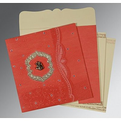 Orange Wooly Floral Themed - Embossed Wedding Card : CC-8209M - IndianWeddingCards