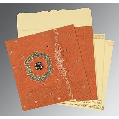 Orange Wooly Floral Themed - Embossed Wedding Card : CW-8209D - IndianWeddingCards