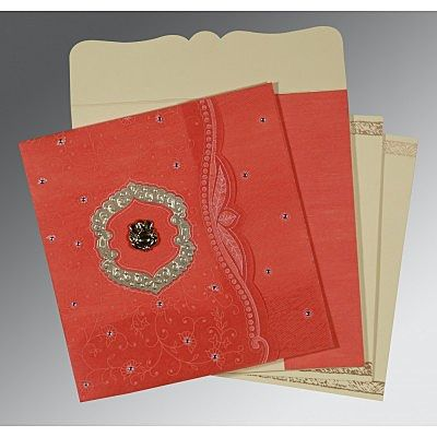 Orange Wooly Floral Themed - Embossed Wedding Card : CW-8209M - IndianWeddingCards