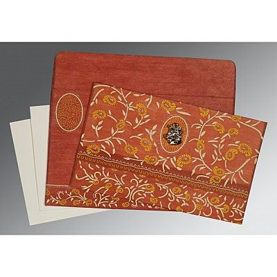 Orange Wooly Floral Themed - Glitter Wedding Card : CC-8206G - IndianWeddingCards