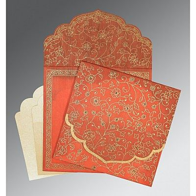 Orange Wooly Floral Themed - Screen Printed Wedding Invitation : CD-8211F - IndianWeddingCards