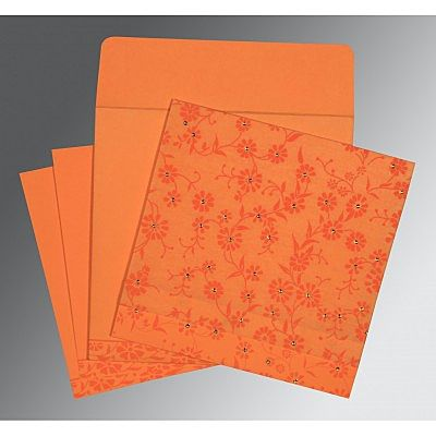 Orange Wooly Floral Themed - Screen Printed Wedding Card : CG-8222C - IndianWeddingCards