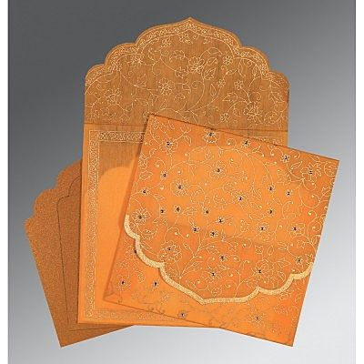 Orange Wooly Floral Themed - Screen Printed Wedding Invitation : CRU-8211L - IndianWeddingCards