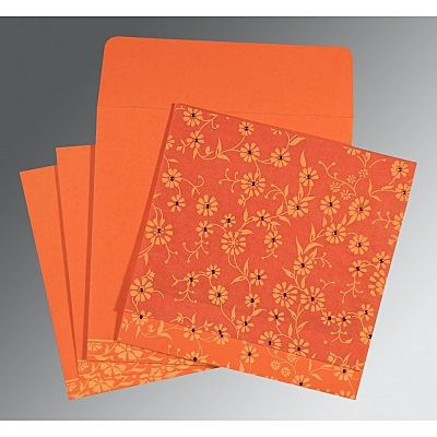 Orange Wooly Floral Themed - Screen Printed Wedding Card : CSO-8222L - IndianWeddingCards