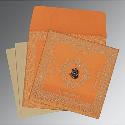 Orange Wooly Glitter Wedding Card : CC-8205H - IndianWeddingCards