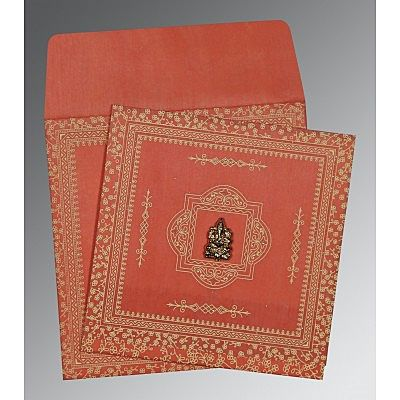 Orange Wooly Glitter Wedding Card : CIN-8205M - IndianWeddingCards