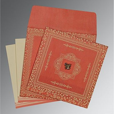 Orange Wooly Glitter Wedding Card : CS-8205M - IndianWeddingCards