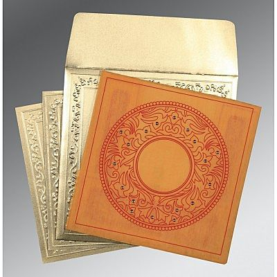 Orange Wooly Screen Printed Wedding Card : CD-8214H - IndianWeddingCards