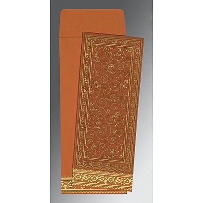 Orange Wooly Screen Printed Wedding Invitation : CI-8220C - IndianWeddingCards