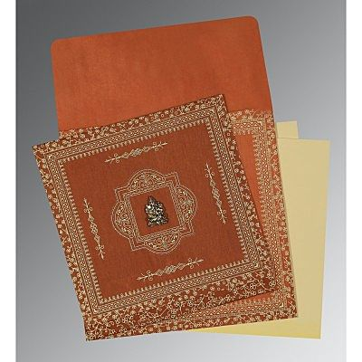 Orange Wooly Screen Printed Wedding Card : CIN-1050 - IndianWeddingCards