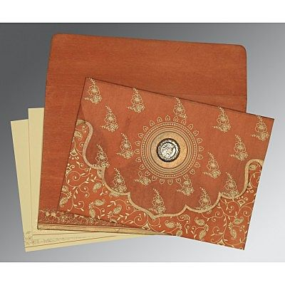 Orange Wooly Screen Printed Wedding Invitation : CRU-8207N - IndianWeddingCards