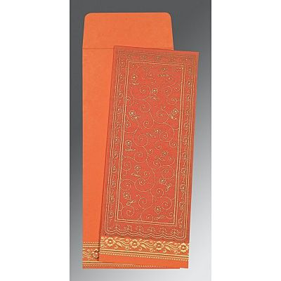 Orange Wooly Screen Printed Wedding Invitation : CRU-8220N - IndianWeddingCards