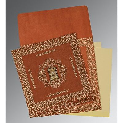 Orange Wooly Screen Printed Wedding Card : CSO-1050 - IndianWeddingCards